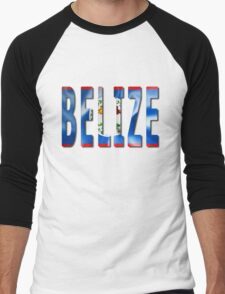Belize Word With Flag Texture Men's Baseball ¾ T-Shirt