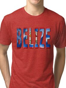 Belize Word With Flag Texture Tri-blend T-Shirt