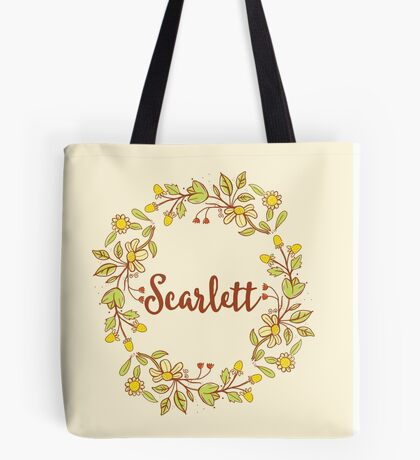 Scarlett lovely name and floral bouquet wreath Tote Bag