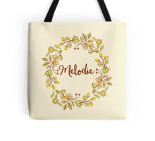 Melodie lovely name and floral bouquet wreath Tote Bag
