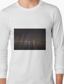 Melbourne lit up at night across the bay Long Sleeve T-Shirt