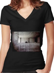 hat during lunchbreak Women's Fitted V-Neck T-Shirt