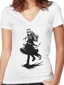Strike Witches Monochrome Women's Fitted V-Neck T-Shirt