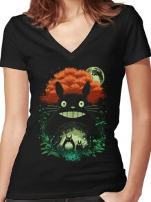 Totoro Dark Night Women's Fitted V-Neck T-Shirt
