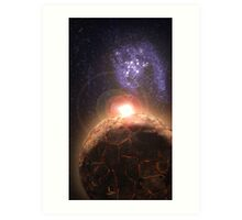 Planet falls inline with Bright star and Seperate Galaxy Art Print