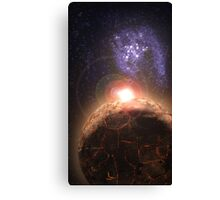 Planet falls inline with Bright star and Seperate Galaxy Canvas Print