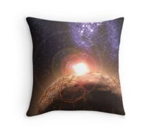 Planet falls inline with Bright star and Seperate Galaxy Throw Pillow
