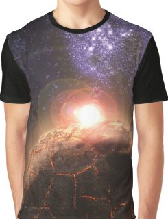 Planet falls inline with Bright star and Seperate Galaxy Graphic T-Shirt