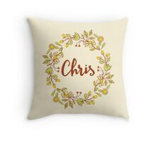 Chris lovely name and floral bouquet wreath Throw Pillow