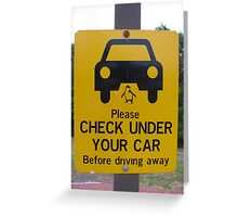 penguin parade warning sign Greeting Card