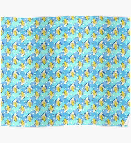 Banana Blue Scale Pattern Poster