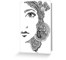 Funky zentangle half face Greeting Card