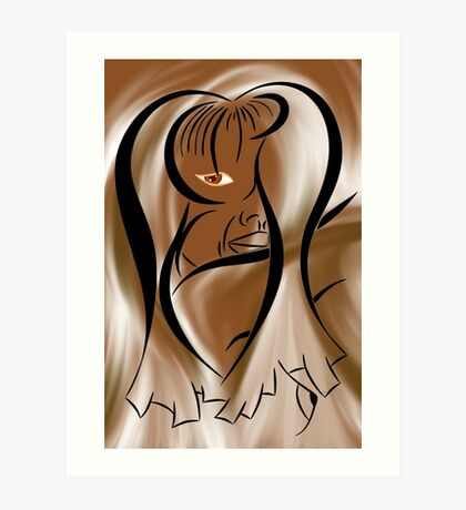 Abstract digital portrait - Tiribeia V3 Art Print