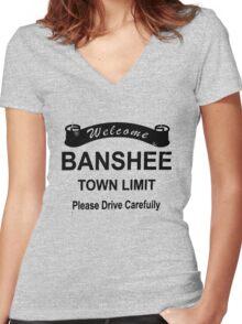 Banshee Logo Women's Fitted V-Neck T-Shirt