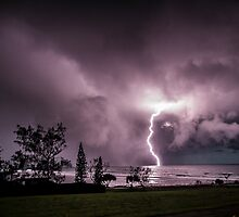 Lightning at Lennox Head by Daniel Rankmore