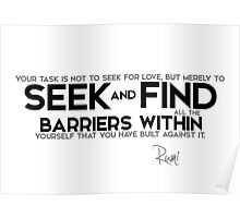 seek and find barriers within - rumi Poster