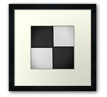 Black and White Leather Patchwork Framed Print