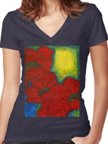 Mama's Poppies-WIP Women's Fitted V-Neck T-Shirt