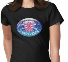 Defender of the U-knitverse knitting space superhero Womens Fitted T-Shirt