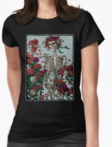 Skeleton & Roses Womens Fitted T-Shirt