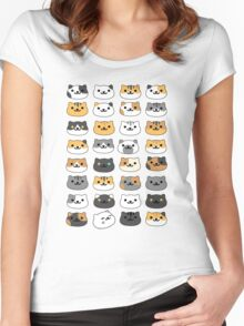 Neko atsume - cat collector faces Women's Fitted Scoop T-Shirt