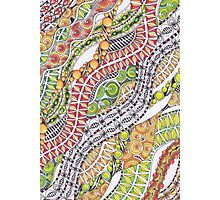 Zentangle Inspired Art- Orange, Green and Red Photographic Print
