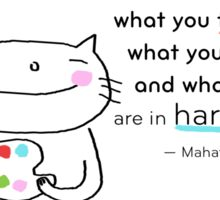 Happiness is ... quote by Gandhi / Cat doodle Sticker
