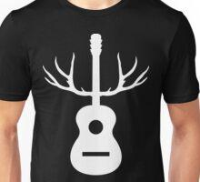 White Antlers Acoustic Guitar Unisex T-Shirt