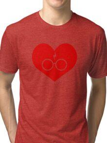 I Love Harry Potter Lightning Bolt Geeky Red Heart Tri-blend T-Shirt