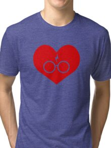 I Love Harry Potter Lightning Bolt Geeky Red Heart Tri-blend T-Shirt