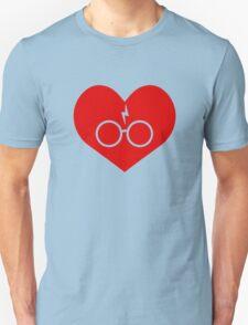 I Love Harry Potter Lightning Bolt Geeky Red Heart Unisex T-Shirt