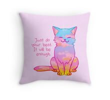 """""""Your Best Is Enough"""" Sunset Cat Throw Pillow"""