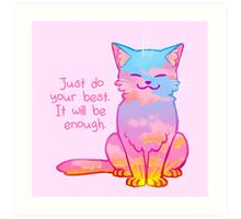"""""""Your Best Is Enough"""" Sunset Cat Art Print"""