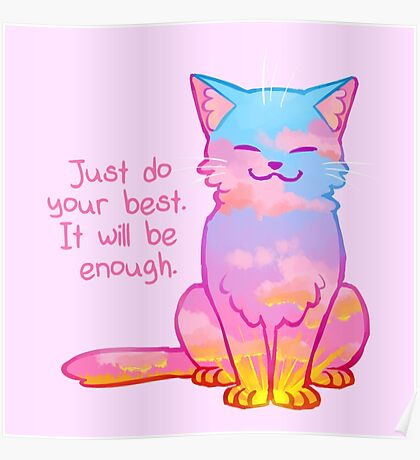 """""""Your Best Is Enough"""" Sunset Cat Poster"""