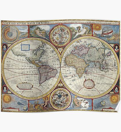 Old Map of the World Poster