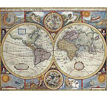 Old Map of the World Photographic Print