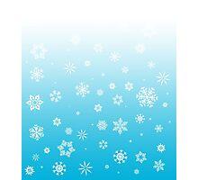 Ombre Blue White Snow Photographic Print