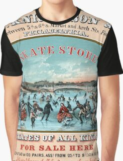 Antique Philadelphia ice skates store advertisement  Graphic T-Shirt