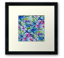 Pink Blue And Green Watercolors Flowers Pattern Framed Print