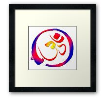 Aum - Om with Enso Zen-circle  Framed Print