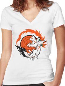 White Wolf Goddess Women's Fitted V-Neck T-Shirt