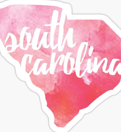 South Carolina - pink watercolor Sticker