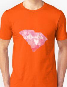Columbia, South Carolina - pink watercolor Unisex T-Shirt