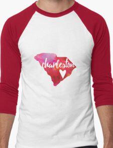 Charleston, South Carolina - pink and red  Men's Baseball ¾ T-Shirt