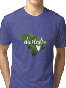 Charleston, South Carolina - green watercolor Tri-blend T-Shirt