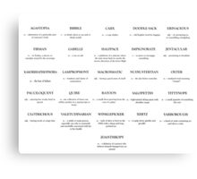 A-Z of Unusual Words Canvas Print