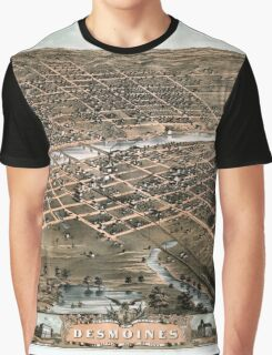 Bird's eye view of the city of Des Moines - Iowa - 1868 Graphic T-Shirt