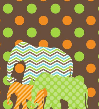 Patterned Chevron Dotted Elephants on Parade Sticker