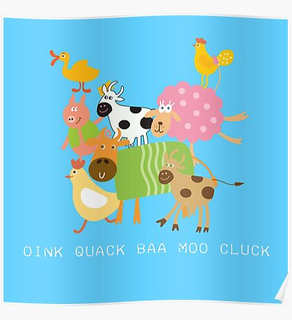Silly Farm Animals Cow Goat Sheep Pig Poster
