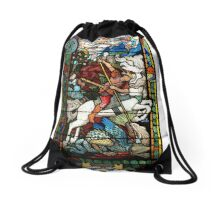 stained-glass window Drawstring Bag